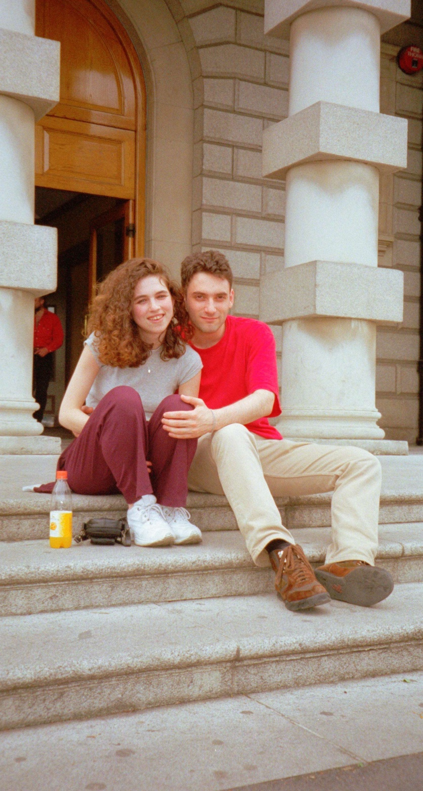 Emma and Daniel on the youth hostel steps
