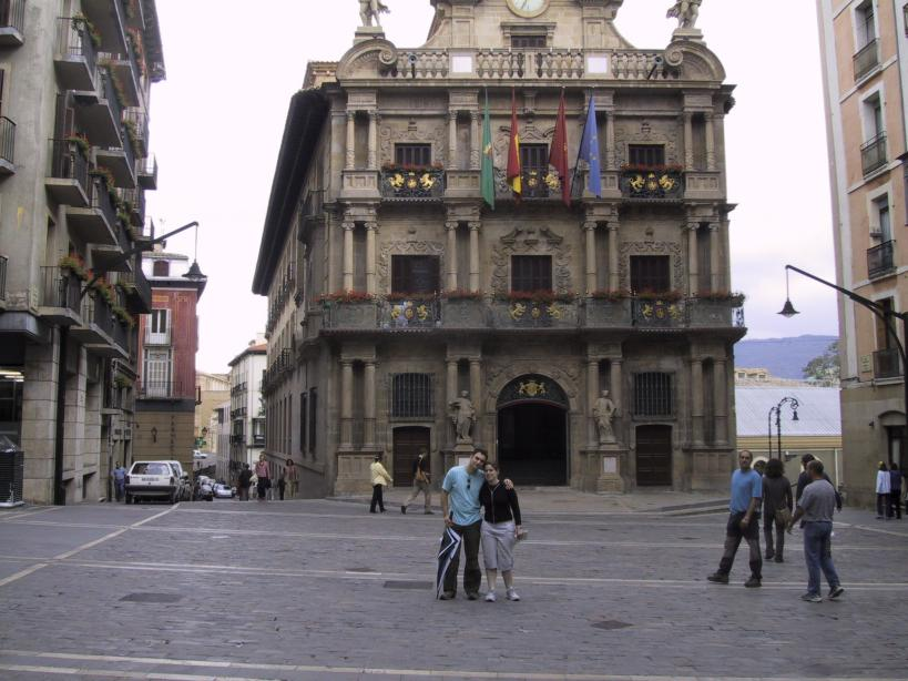 Us outside pamplona town hall
