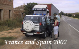 Our trip driving from london to Madrid 2770 miles, one breakdown one ticket for dangerous driving (Sara) and one puncher - date August 2002